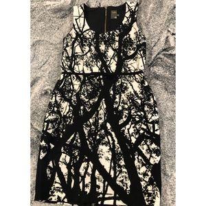 Womens 12 Taylor Dress Branch Print Black White